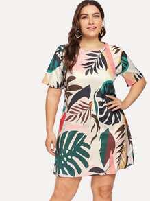 Plus Foliage Print Dress