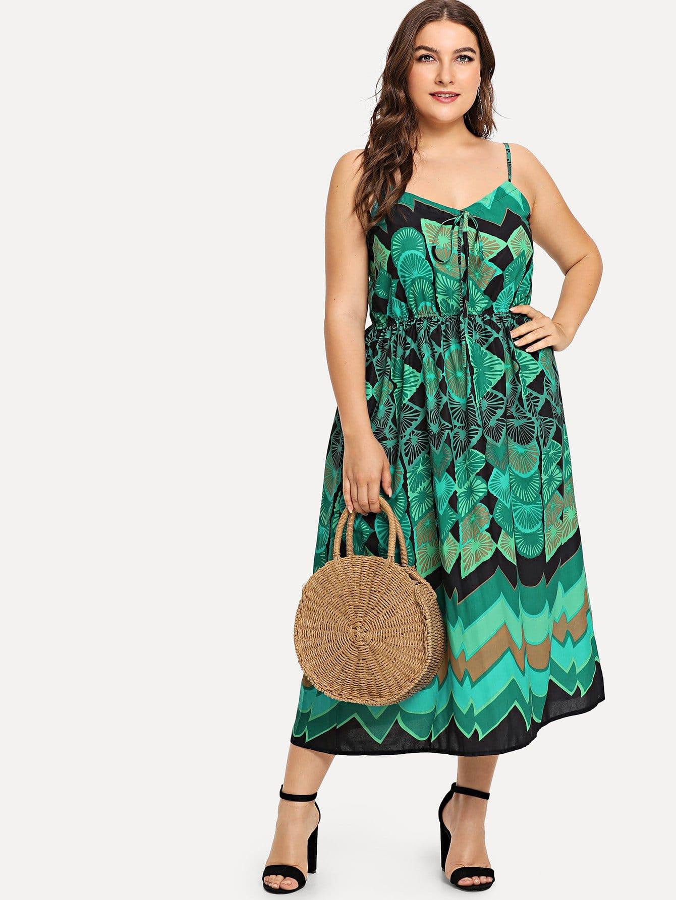 все цены на Plus Geo Print Cami Dress