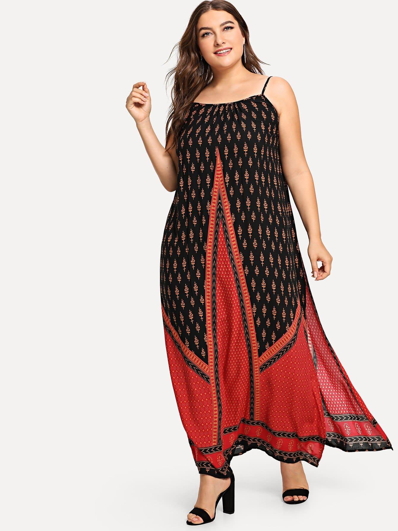 Платье Calim Print Slit Hem Cami