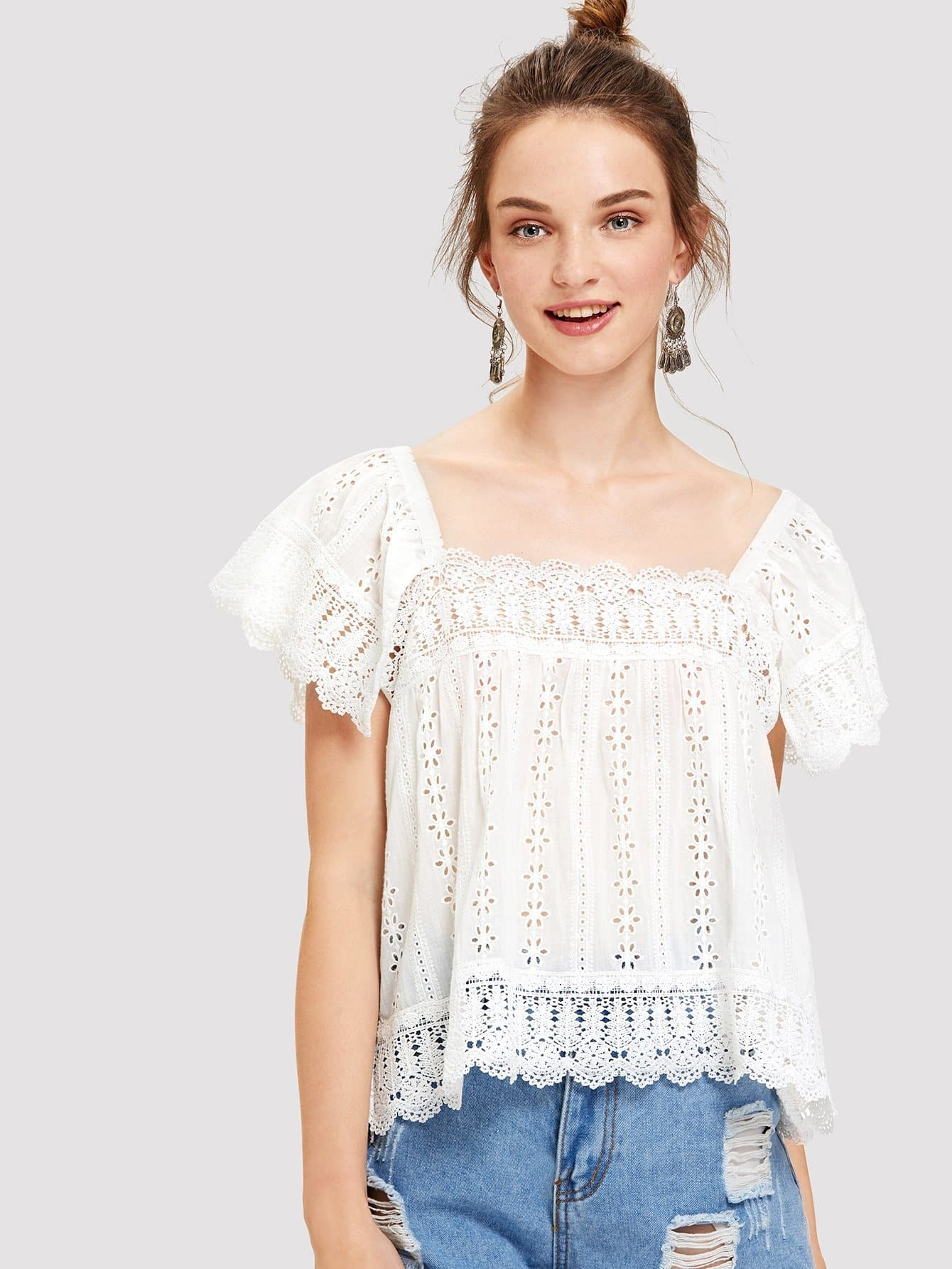 Scallop Eyelet Embroidered Blouse