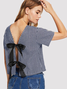 Knot Back Checked Top