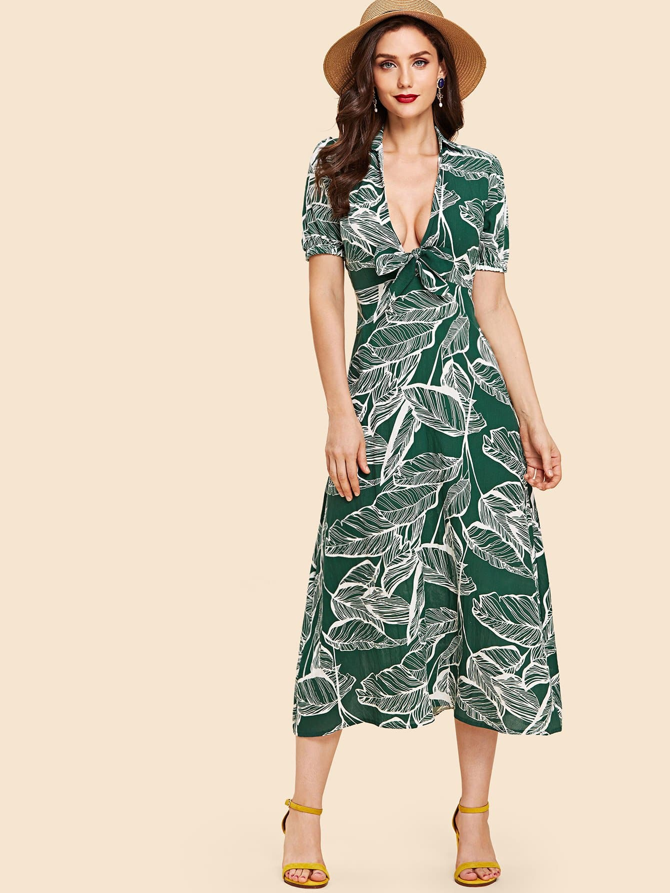 Palm Print Tie Neck Dress