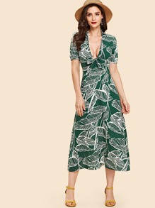 Palm Print Tie Neck Dress