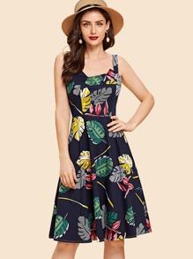Palm Print Cami Dress