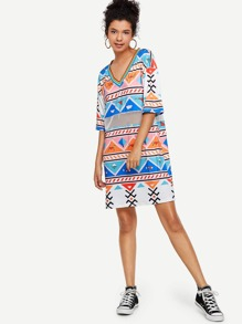 Colorful Geo Print Dress