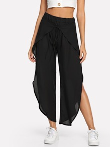 Elastic Waist Split Pants
