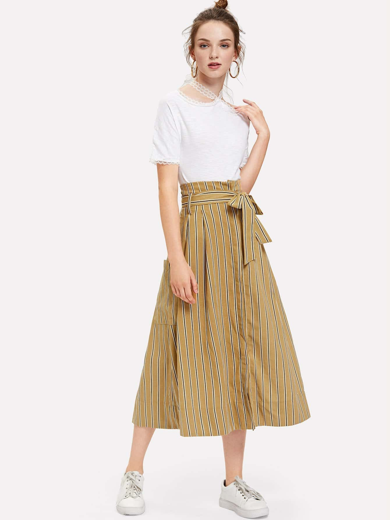 Pocket Decoration Striped Skirt