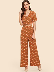 Polka Dot Top With Wide Leg Pants