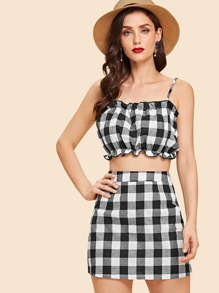 Frill Gingham Cami Top With Skirt