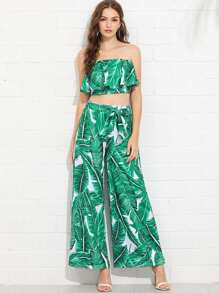 Ruffle Trim Palm Print Top With Wide Leg Pants