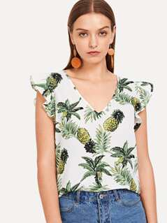 Pineapple Print V-Neck Ruffle Top