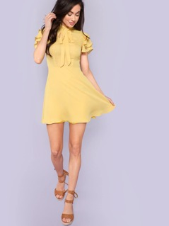 Tie Neck Layered Flounce Sleeve Dress
