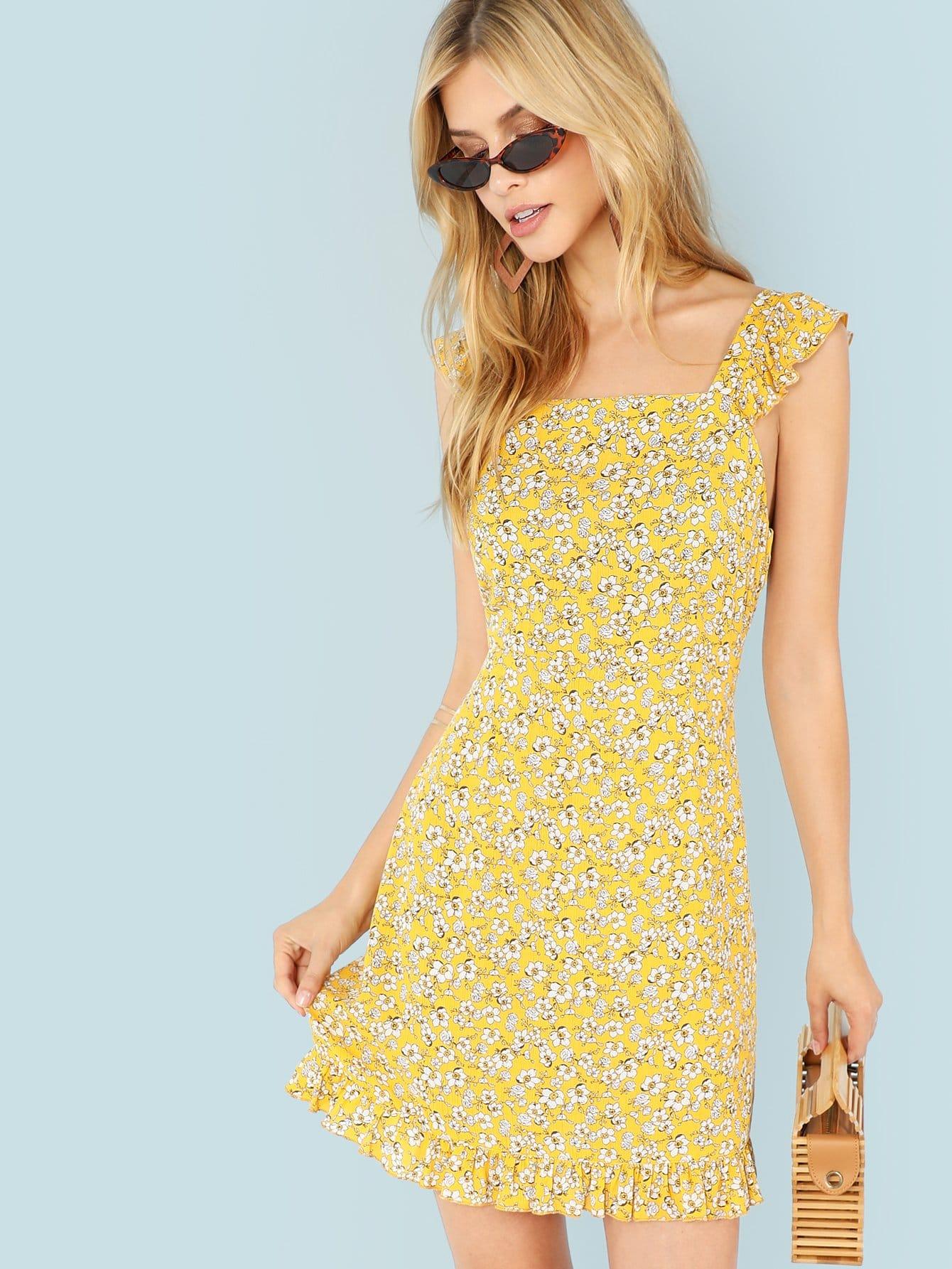 Ruffle Strap and Hem Floral Dress ruffle strap and hem striped dress