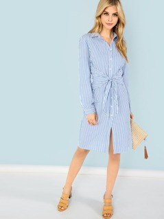 Belted Rolled Up Striped Shirt Dress