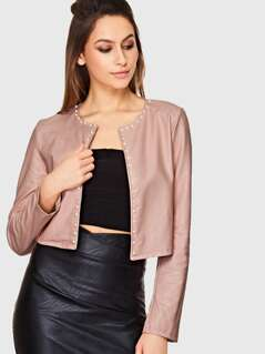 Pearl Beaded Trim Crop PU Leather Jacket