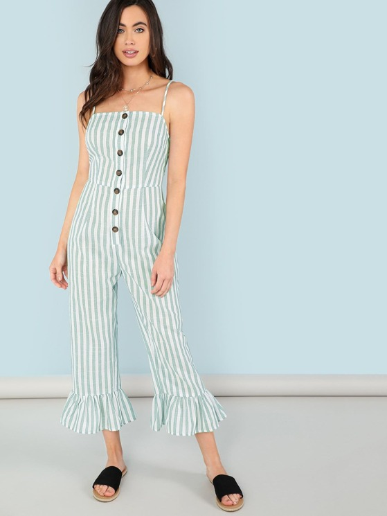 c8de9255902 Button Front Ruffle Hem Striped Cami Jumpsuit