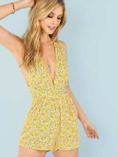 Flower Print Self Belted Cross Halter Romper