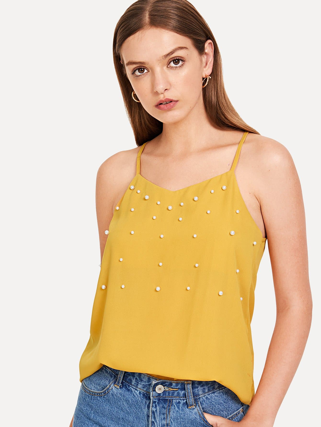 Pearl Embellished Racerback Cami Top trendy tassel trim pearl embellished cami top for women