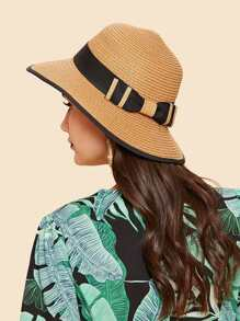 Contrast Edge Straw Hat