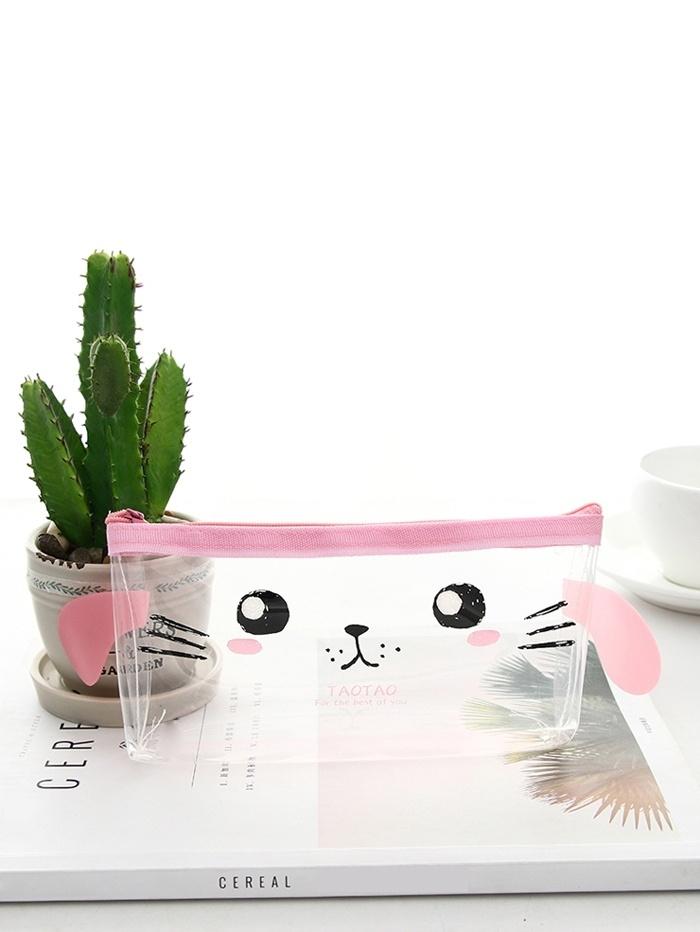 Купить Прозрачный пенал для карандашей с рисунком лица кошки, null, SheIn