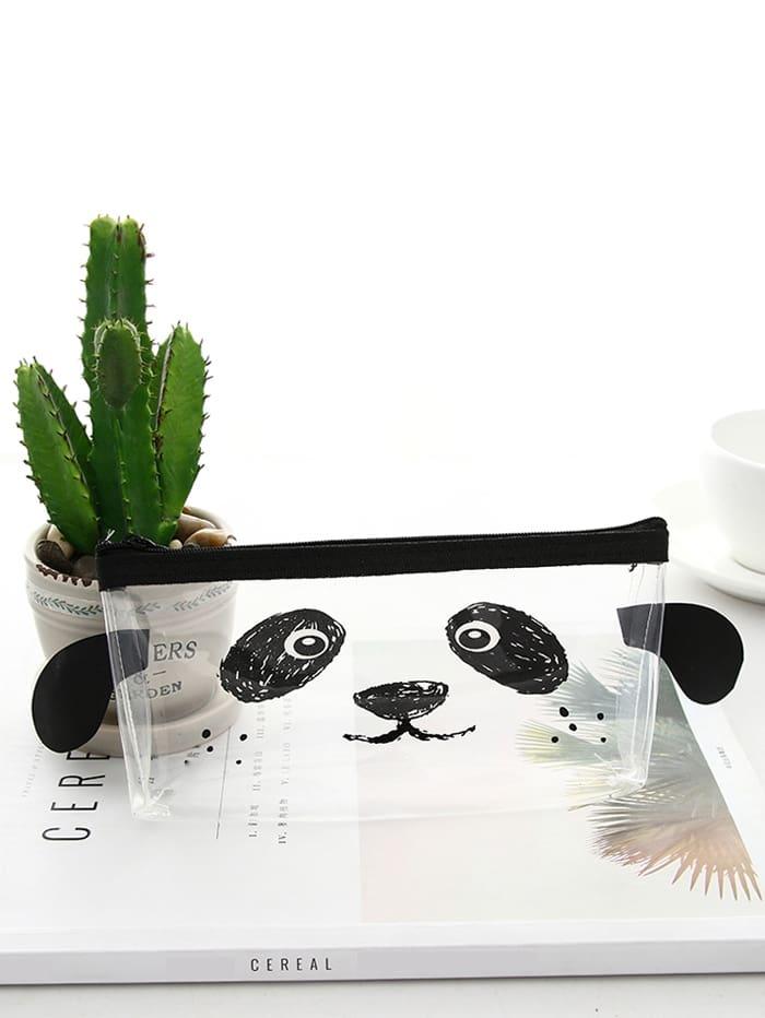 Купить Прозрачный пенал для карандашей с рисунком лица панды, null, SheIn