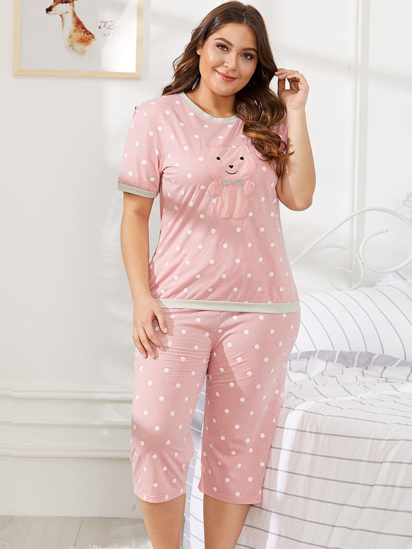 Plus Bear Pattern Polka Dot Pajama Set