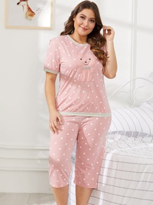 Plus Bear Pattern Polka Dot Pajama Set