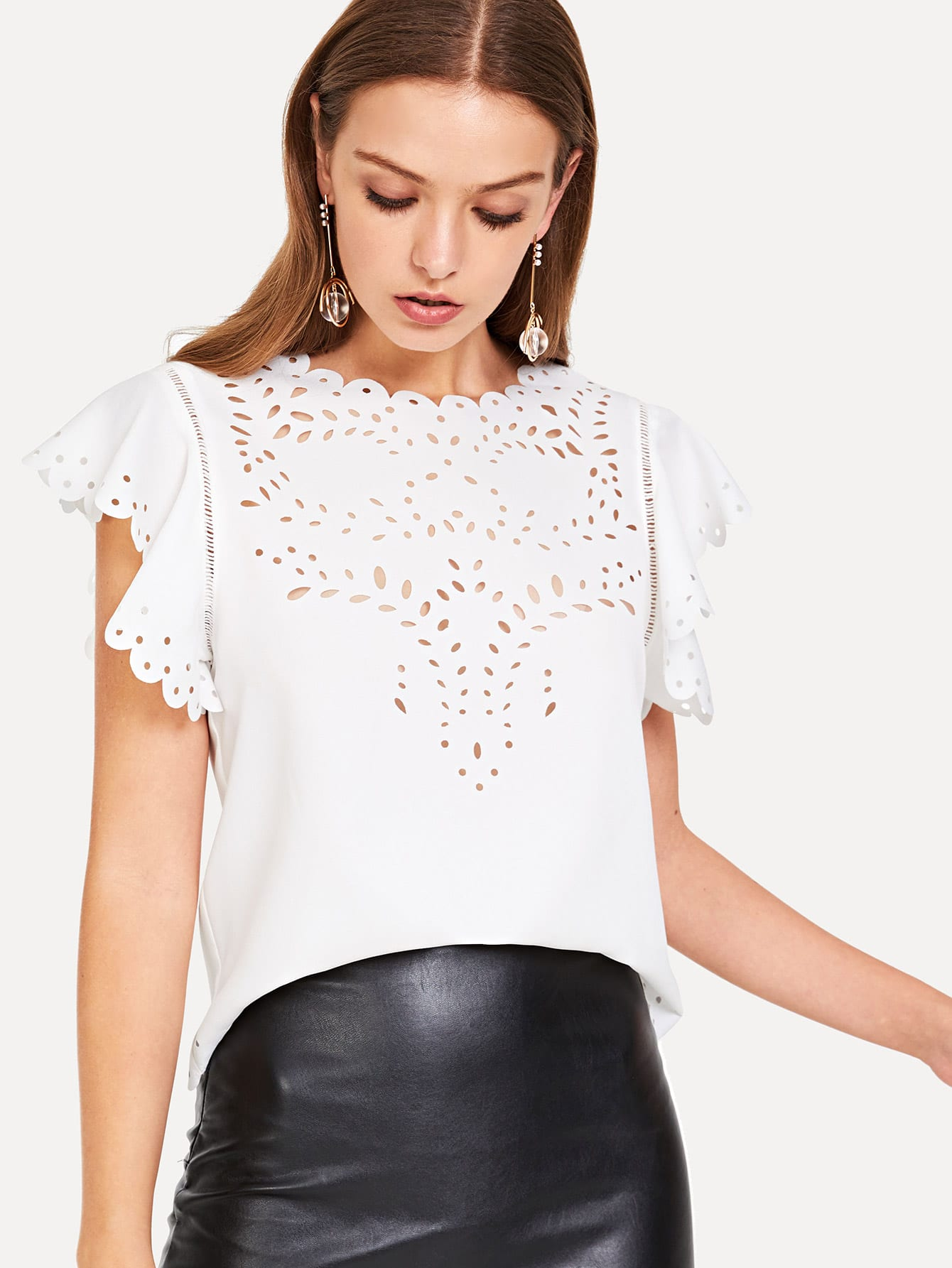 Eyelet Scallop Trim Lace Insert Top eyelet lace botanical print top