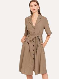 Self Belted Button Up Collar Shirt Dress
