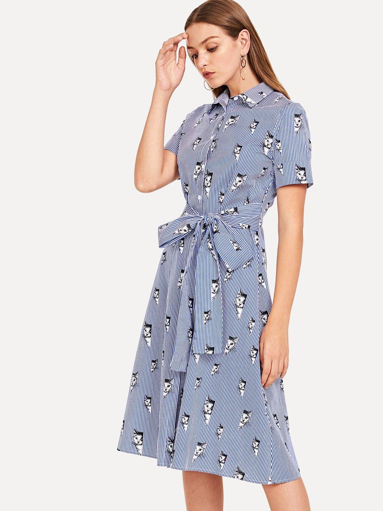 Купить Платье с рубашкой из смешанной печати, Luiza, SheIn