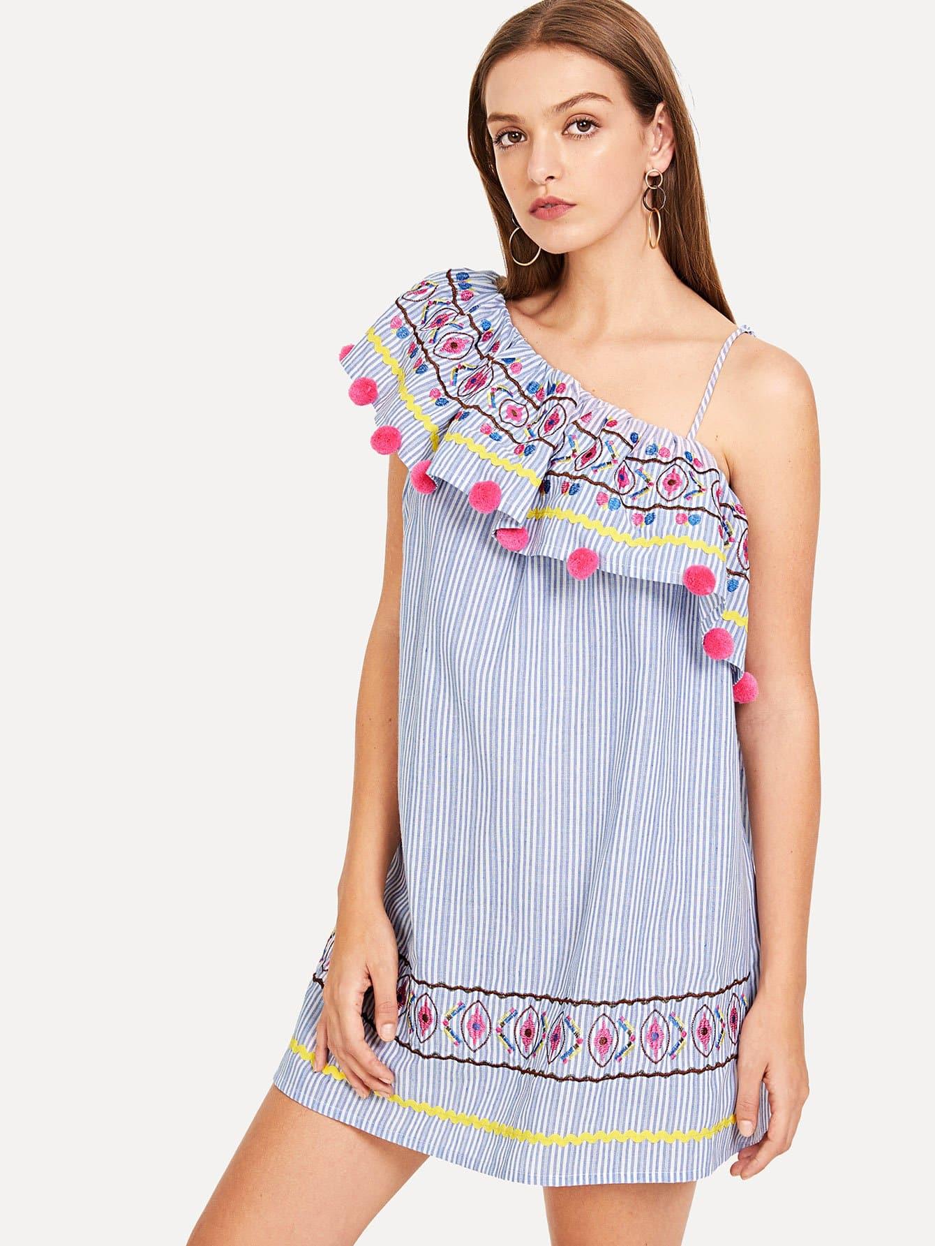 Купить Асимметричное платье для вышивки пома, Luiza, SheIn
