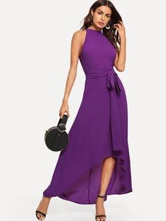 Halter Neck Belted Asymmetrical Hem Dress