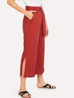 Slit Hem Belted Pants