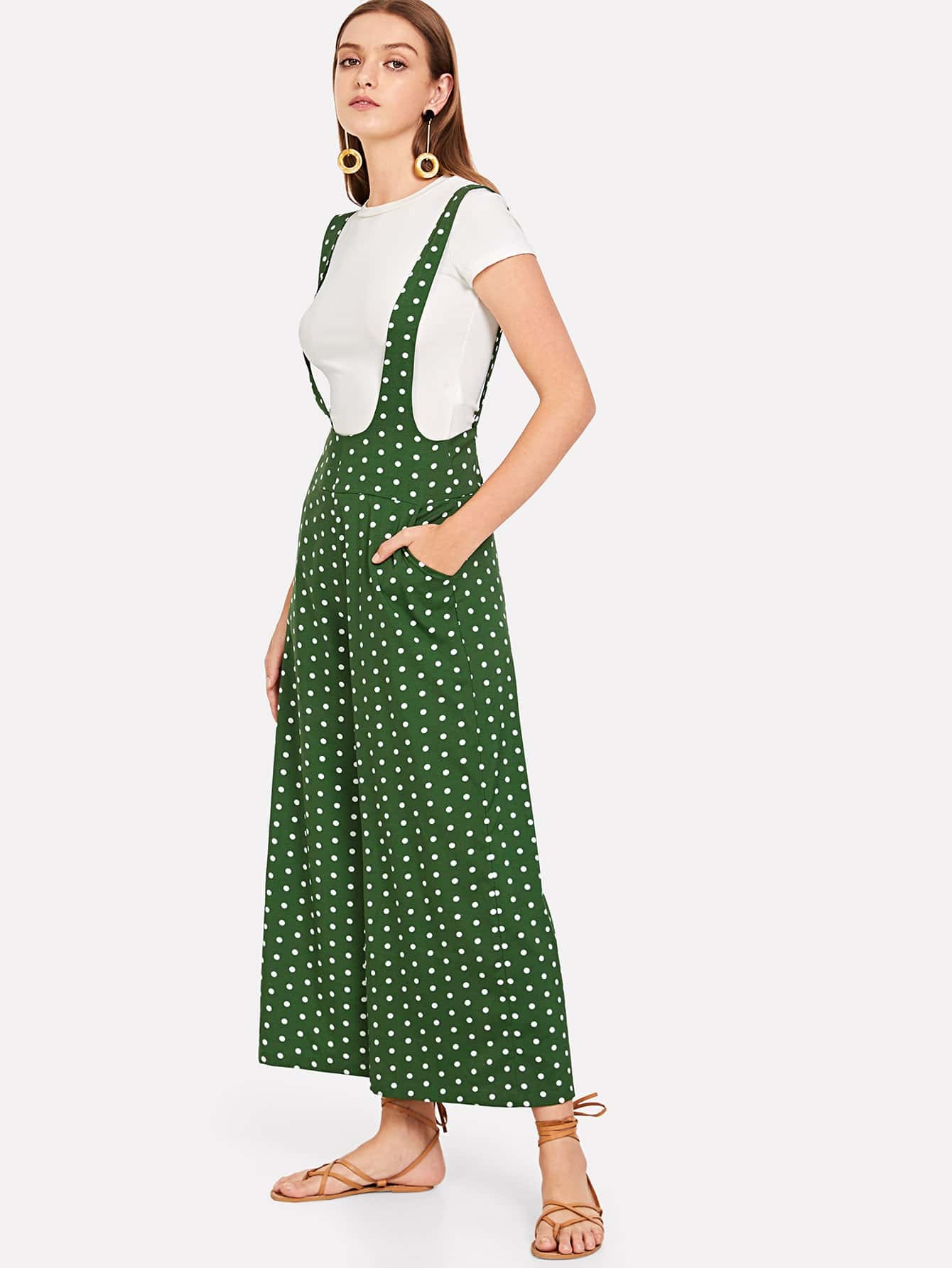 Купить Polka Dot Print Pinafore Широкие штаны для ног, Luiza, SheIn