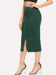 Button Front with Slit Hem Skinny Skirt