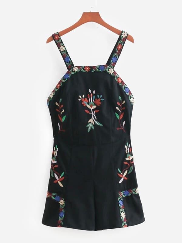 Flower Embroidered Overall Shorts wesc men s hawaii roman sweatshirt