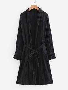 Solid Raglan Sleeve Wrap Coat