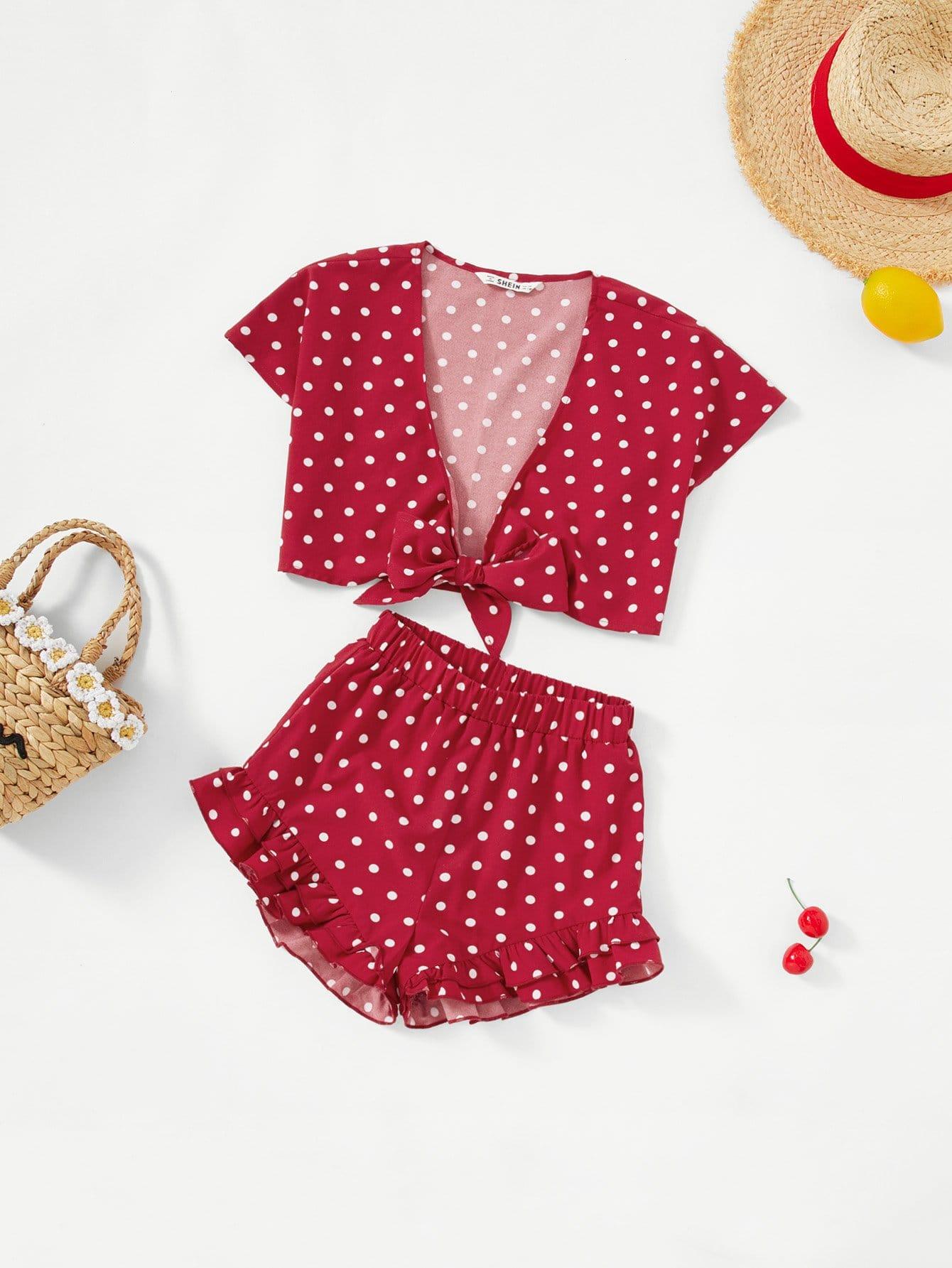 Купить Набор для девочек Knot Front Polka Dot Top & Ruffle Hem Shorts Set, null, SheIn