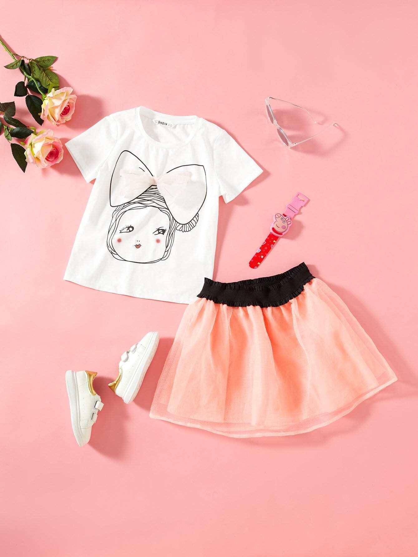 Girls Bow Front Figure Print Top & Mesh Skirt Set spongebob squarepants pvc anime figures 8 figure set
