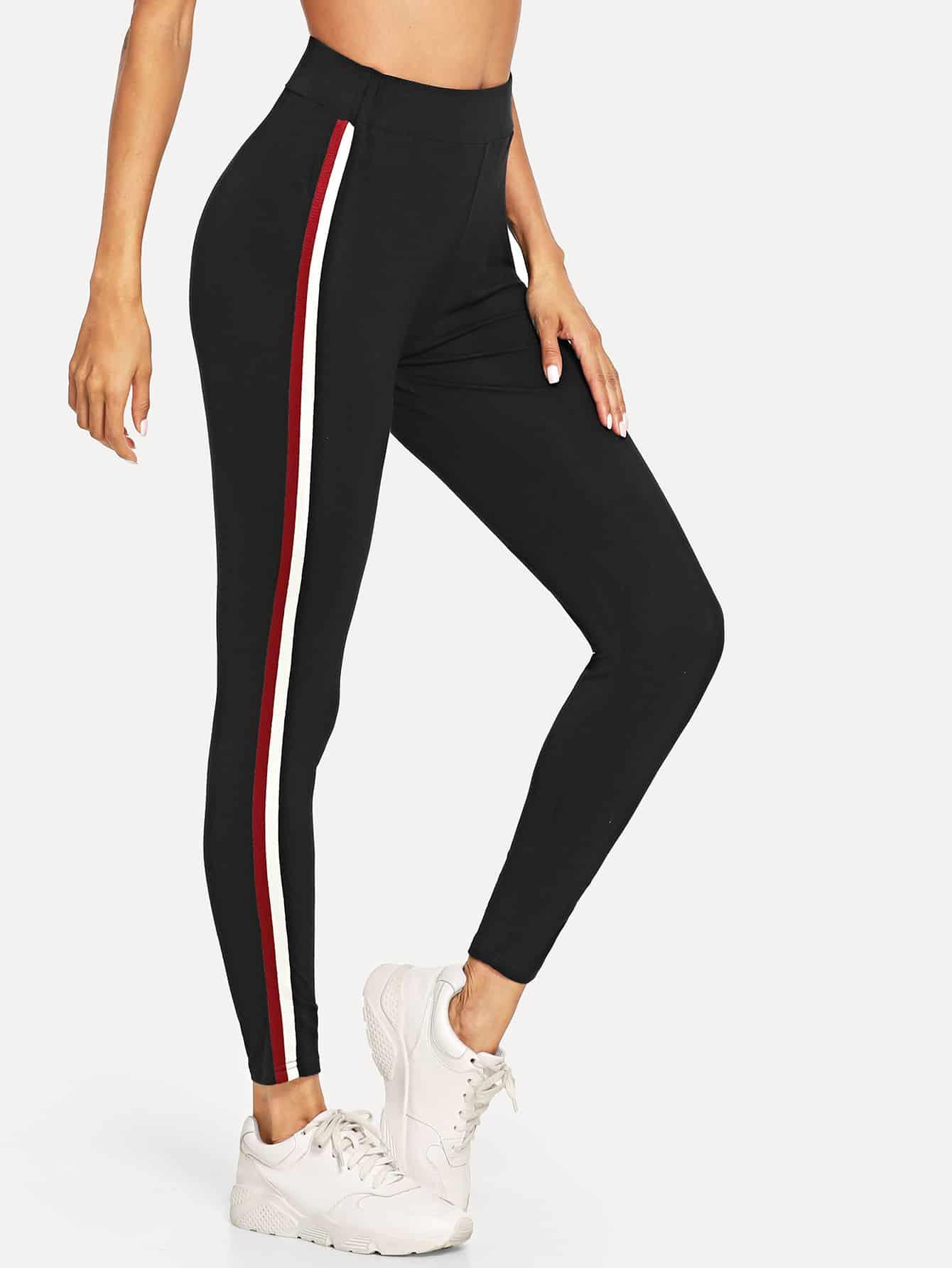 Wide Waist Striped Side Leggings wide waist camo print leggings