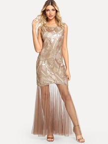 Mesh Contrast Sequin Tank Dress