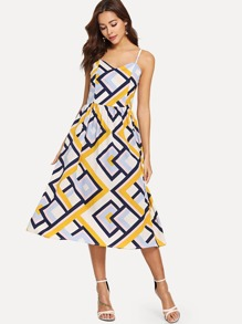 Geometrical Print Cami Dress
