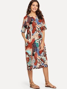 Graphic Print Hidden Pocket Dress