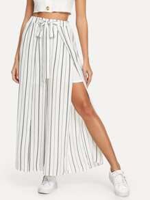 Split Side Bow Tie Wide Leg Pants