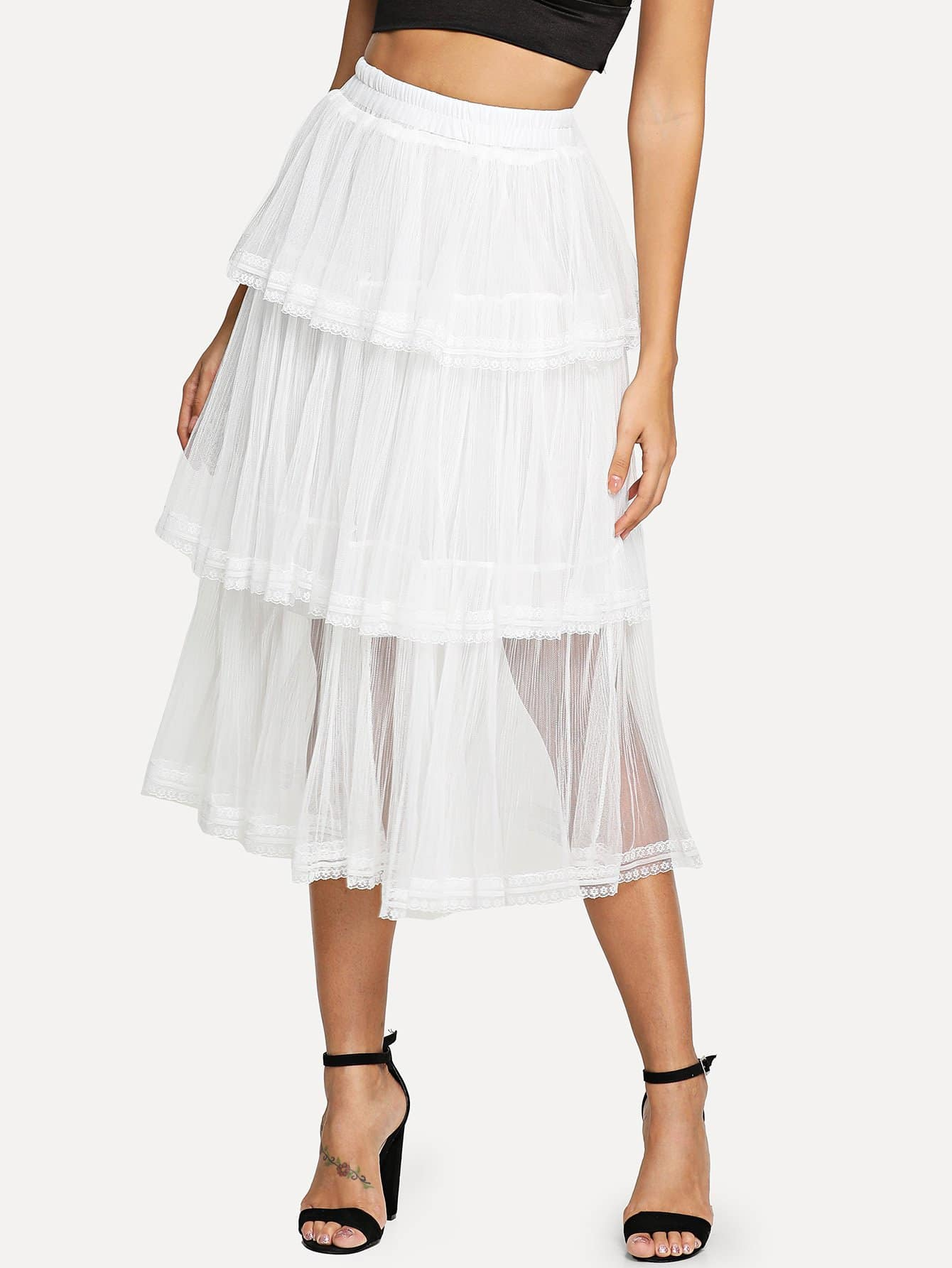 Фото - Tiered Layer Mesh Skirt lace tiered layer skirt
