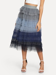 Tiered Layer Mesh Skirt