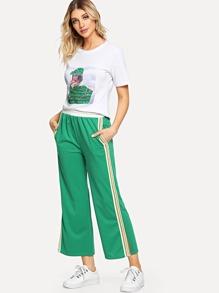 Girl Print Sequin Contrast Tee & Wide Leg Pants