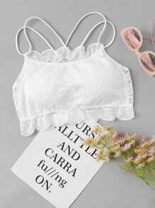 Scallop Trim Strappy Lace Cami Top