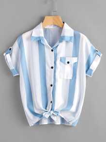Pocket Patch Knot Front Striped Shirt