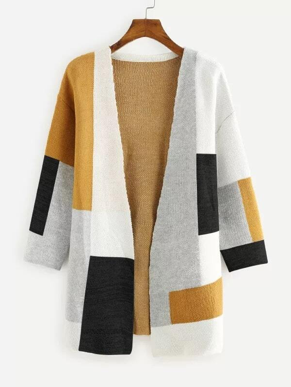 Colorblock Open Front Sweater Cardigan морозильная камера shivaki cf 2001w